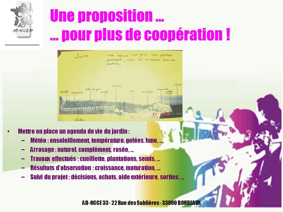AD-OCCE 33 - 22 Rue des Sablières - 33800 BORDEAUX Une proposition … … pour plus de coopération ! Mettre en place un agenda de vie du jardin : –Météo