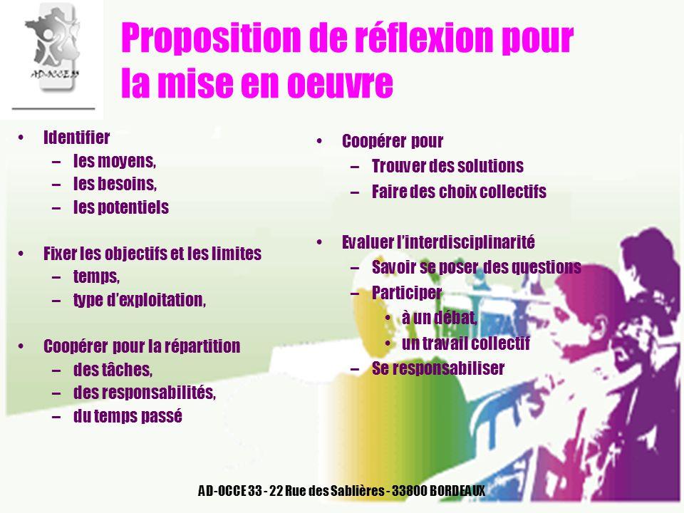 AD-OCCE 33 - 22 Rue des Sablières - 33800 BORDEAUX Proposition de réflexion pour la mise en oeuvre Identifier –les moyens, –les besoins, –les potentie