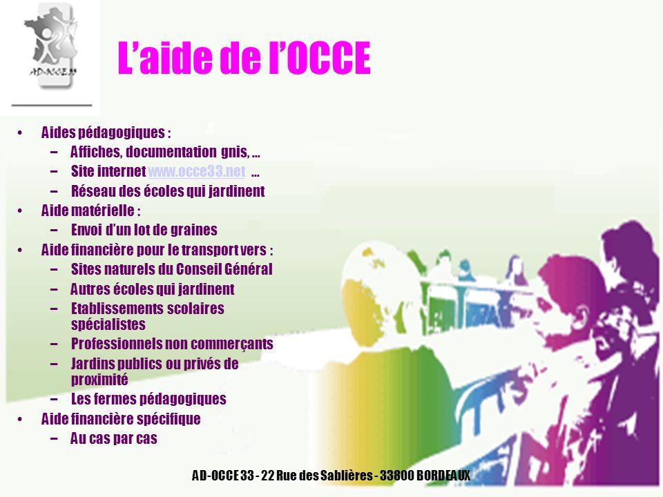 AD-OCCE 33 - 22 Rue des Sablières - 33800 BORDEAUX Laide de lOCCE Aides pédagogiques : –Affiches, documentation gnis, … –Site internet www.occe33.net
