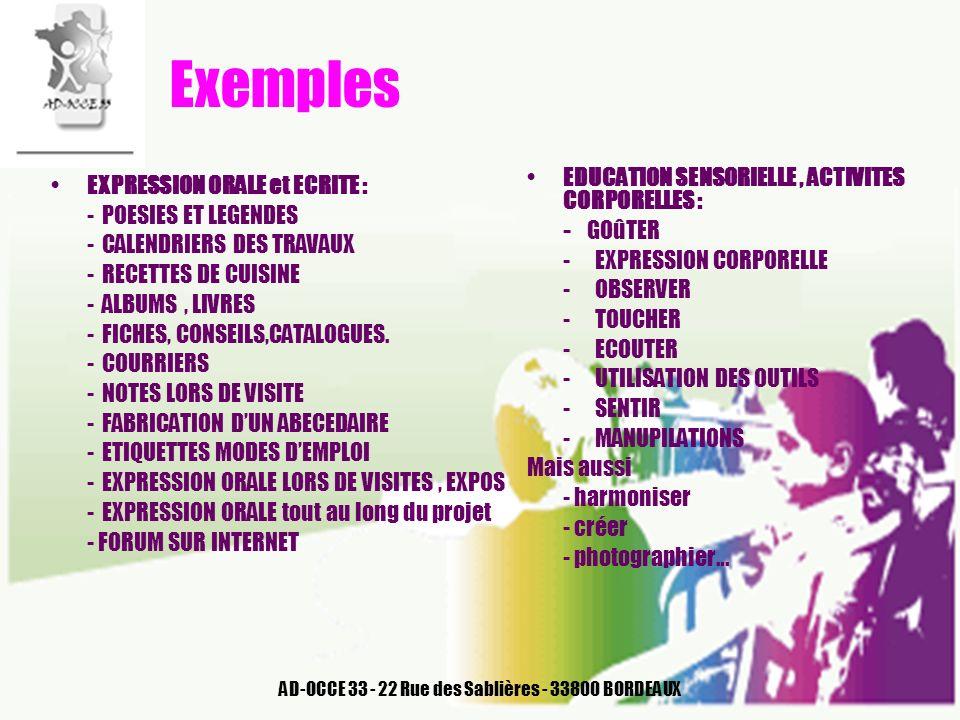 AD-OCCE 33 - 22 Rue des Sablières - 33800 BORDEAUX Exemples EDUCATION SENSORIELLE, ACTIVITES CORPORELLES : - GOûTER - EXPRESSION CORPORELLE - OBSERVER