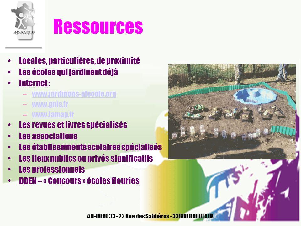 AD-OCCE 33 - 22 Rue des Sablières - 33800 BORDEAUX Ressources Locales, particulières, de proximité Les écoles qui jardinent déjà Internet : –www.jardi