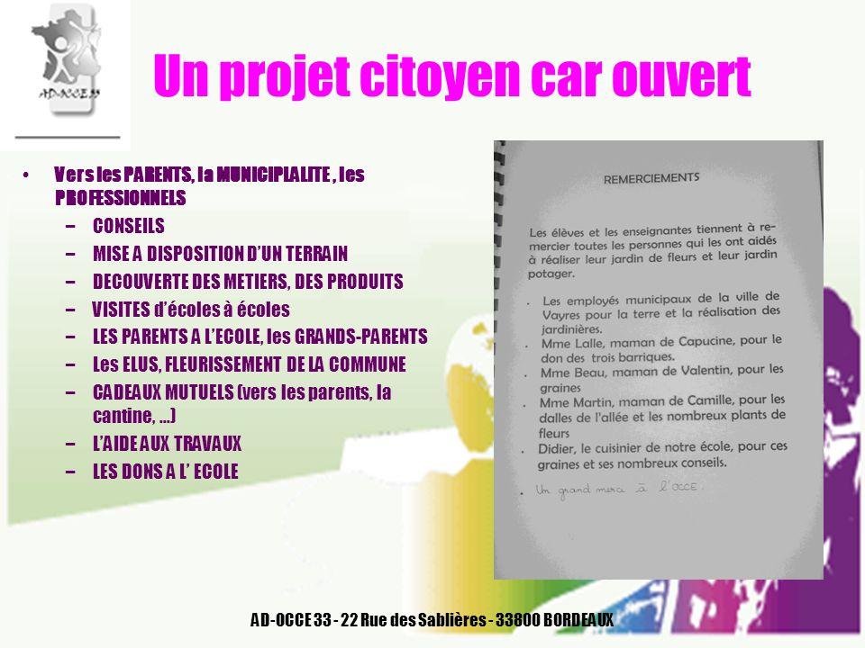 AD-OCCE 33 - 22 Rue des Sablières - 33800 BORDEAUX Un projet citoyen car ouvert Vers les PARENTS, la MUNICIPLALITE, les PROFESSIONNELS –CONSEILS –MISE