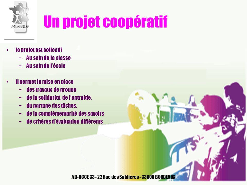 AD-OCCE 33 - 22 Rue des Sablières - 33800 BORDEAUX Un projet coopératif le projet est collectif –Au sein de la classe –Au sein de lécole il permet la