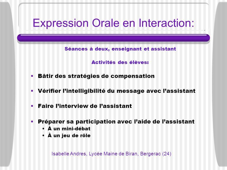 Expression Orale en Interaction: Séances à deux, enseignant et assistant Activités des élèves: Bâtir des stratégies de compensation Vérifier lintellig