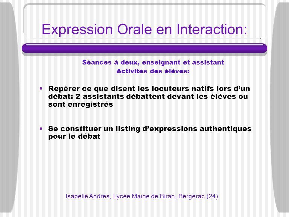 Expression Orale en Interaction: Séances à deux, enseignant et assistant Activités des élèves: Repérer ce que disent les locuteurs natifs lors dun déb