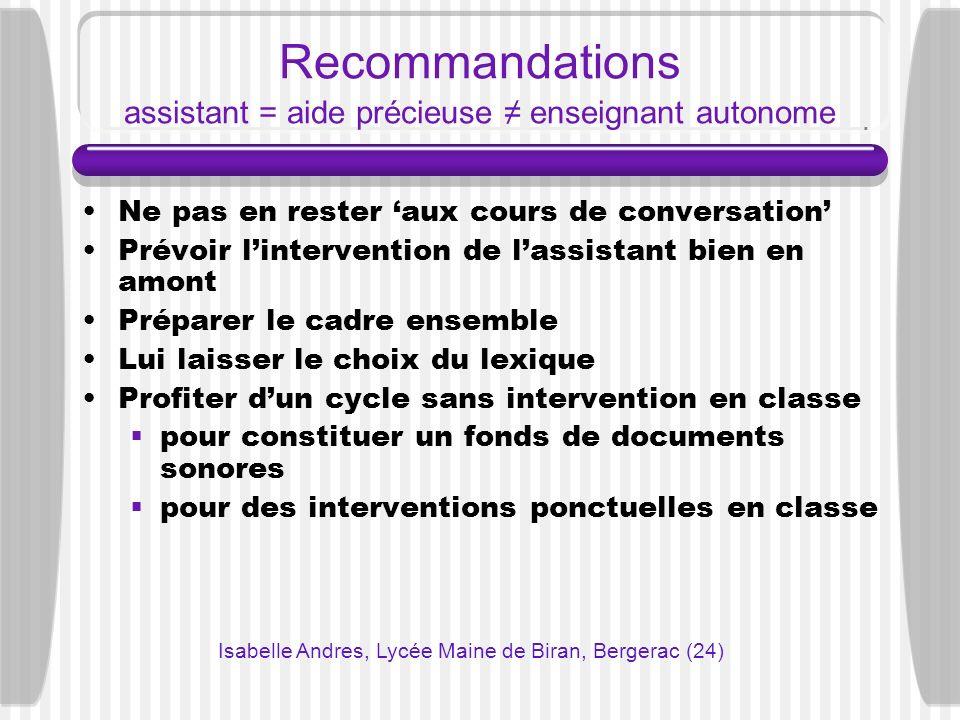 Recommandations assistant = aide précieuse enseignant autonome Ne pas en rester aux cours de conversation Prévoir lintervention de lassistant bien en