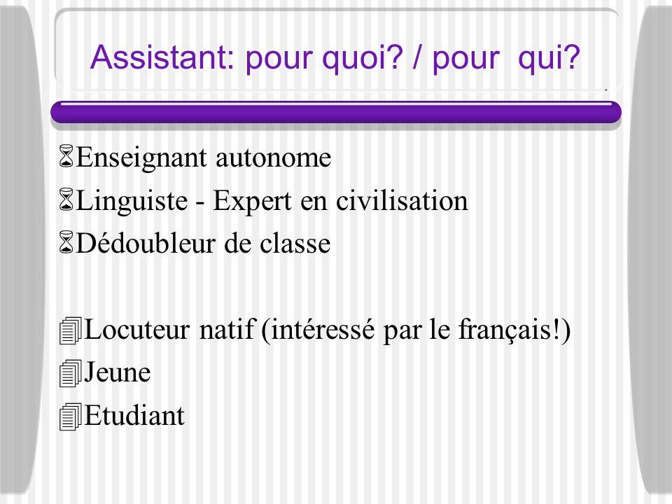 Assistant: pour quoi? / pour qui? Enseignant autonome Linguiste - Expert en civilisation Dédoubleur de classe Locuteur natif (intéressé par le françai