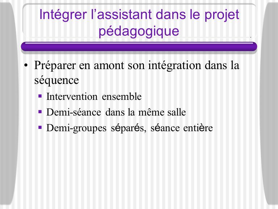 Intégrer lassistant dans le projet pédagogique Préparer en amont son intégration dans la séquence Intervention ensemble Demi-séance dans la même salle