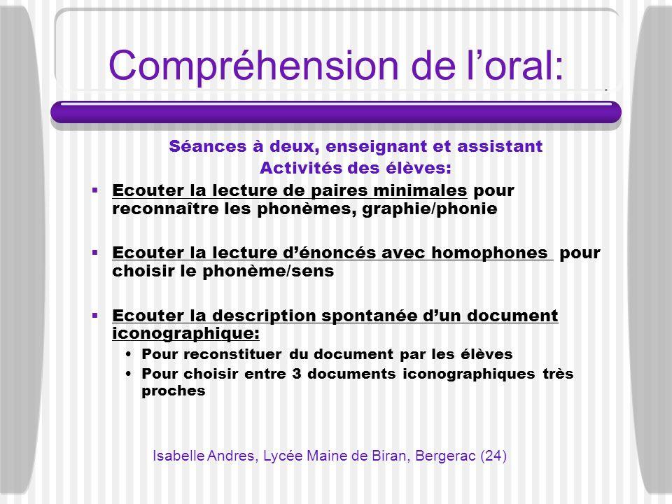 Compréhension de loral: Séances à deux, enseignant et assistant Activités des élèves: Ecouter la lecture de paires minimales pour reconnaître les phon