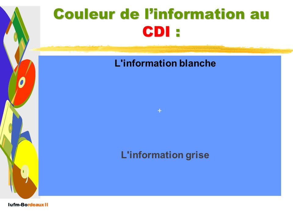 Iufm-Bordeaux II Couleur de linformation : (cf.J. Ducourneau) L'information blanche : Publique et accessible, ne fait l'objet d'aucune sécurisation pa