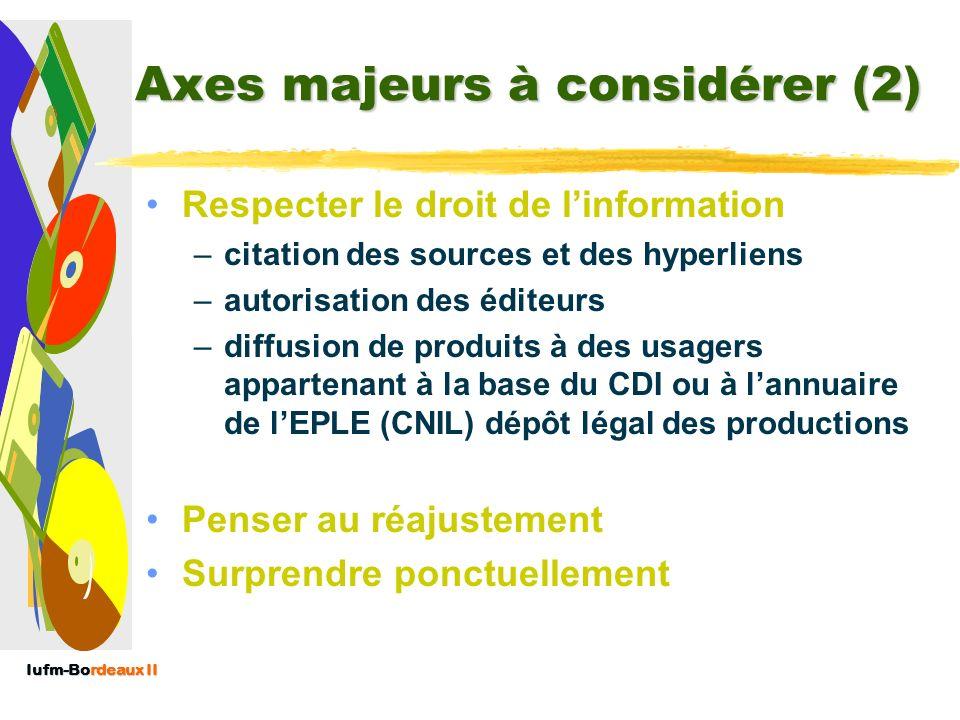 Iufm-Bordeaux II Axes majeurs à considérer (1) Inscription au projet documentaire de lEPLE Répartition entre la part CDI de la part « établissement »