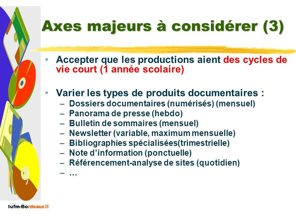 Iufm-Bordeaux II Axes majeurs à considérer (2) Respecter le droit de linformation –citation des sources et des hyperliens –autorisation des éditeurs –