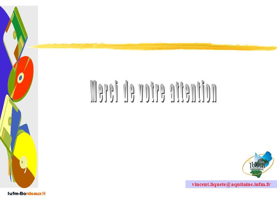 Iufm-Bordeaux II Les freins possibles Ceux de tout projet…Ceux de tout projet… –Humains Rétention dinformations, non participation,… –Organisationnels