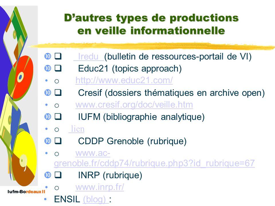 Iufm-Bordeaux II Produits dédition en VI : DISSOCIER : Le bulletin de veille : Dire (10) : Veille informationnelle dans le domaine de la recherche en