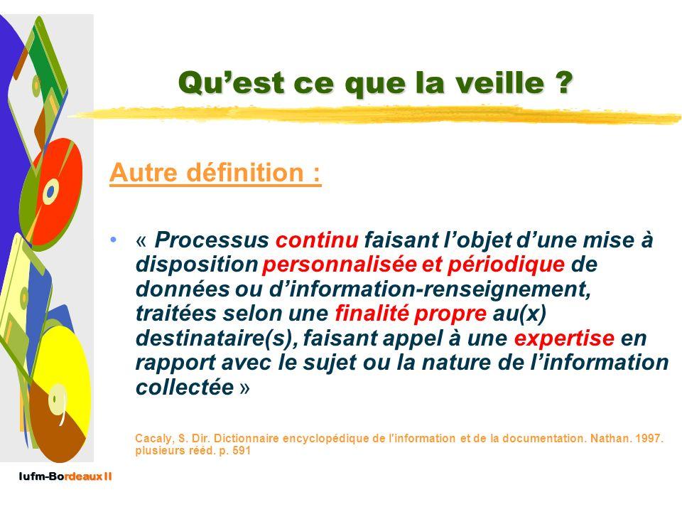 Iufm-Bordeaux II Quest ce que la veille ? Quest ce que la veille ? Définition Afnor : « Activité continue et en grande partie itérative visant à une s