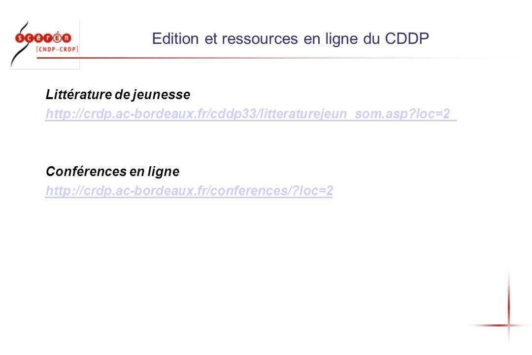 Edition et ressources en ligne du CDDP Littérature de jeunesse http://crdp.ac-bordeaux.fr/cddp33/litteraturejeun_som.asp?loc=2_ Conférences en ligne http://crdp.ac-bordeaux.fr/conferences/?loc=2