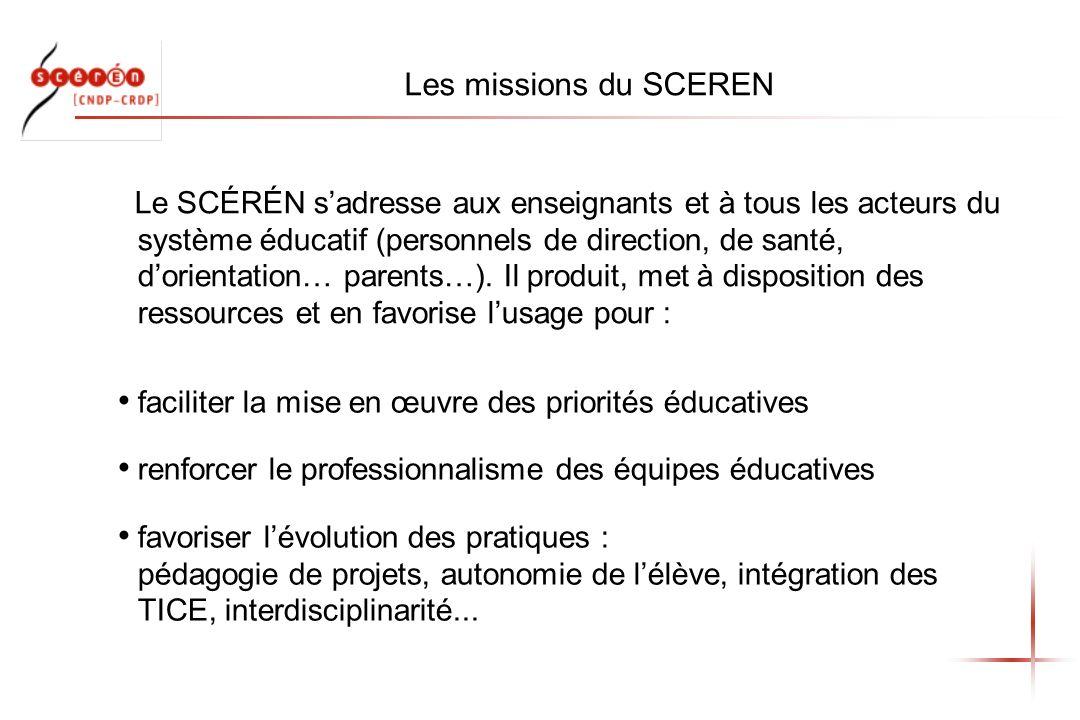 Les missions du SCEREN faciliter la mise en œuvre des priorités éducatives renforcer le professionnalisme des équipes éducatives favoriser lévolution des pratiques : pédagogie de projets, autonomie de lélève, intégration des TICE, interdisciplinarité...