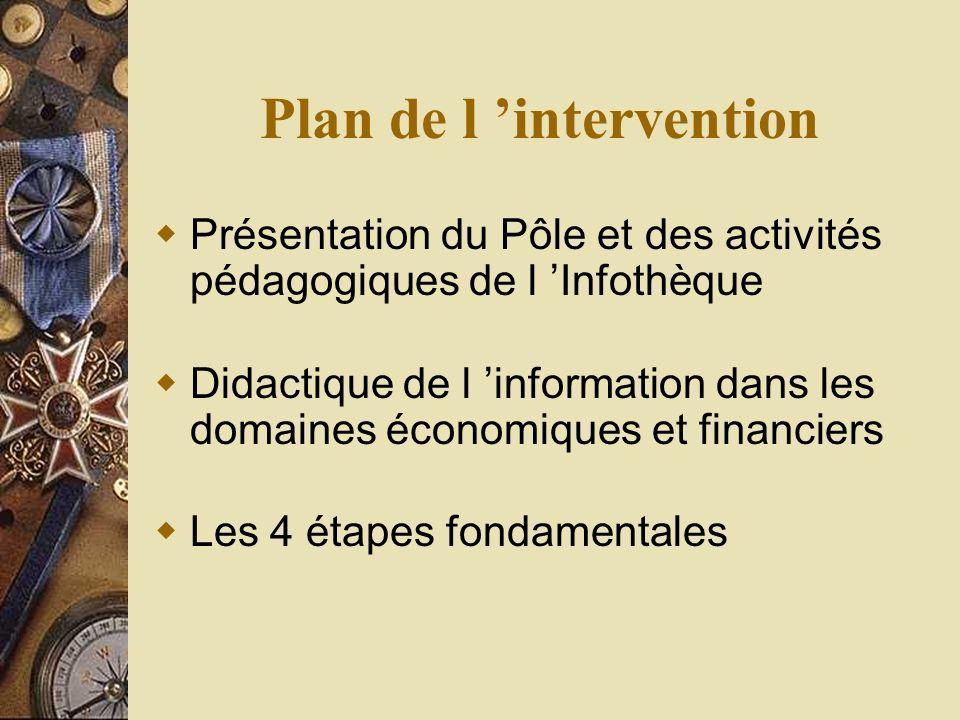 Plan de l intervention Présentation du Pôle et des activités pédagogiques de l Infothèque Didactique de l information dans les domaines économiques et financiers Les 4 étapes fondamentales