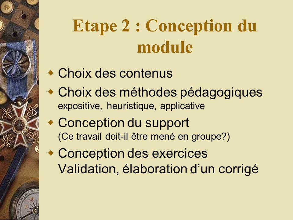 Etape 2 : Conception du module Choix des contenus Choix des méthodes pédagogiques expositive, heuristique, applicative Conception du support (Ce travail doit-il être mené en groupe ) Conception des exercices Validation, élaboration dun corrigé