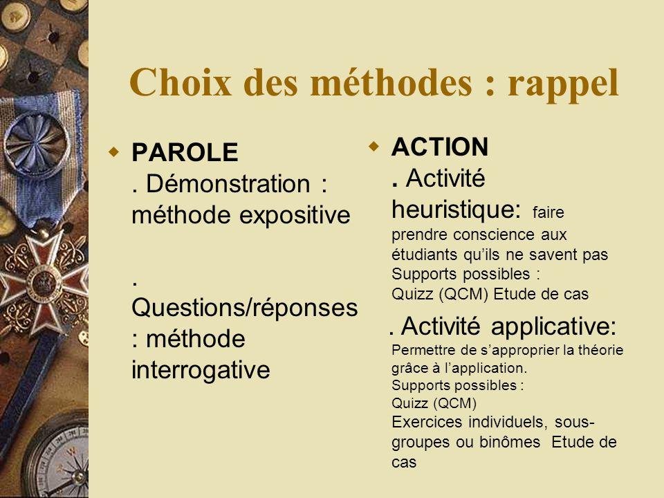 Choix des méthodes : rappel PAROLE. Démonstration : méthode expositive.