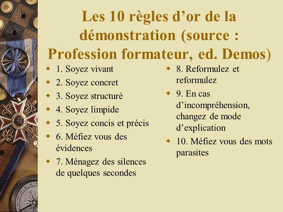 Les 10 règles dor de la démonstration (source : Profession formateur, ed.
