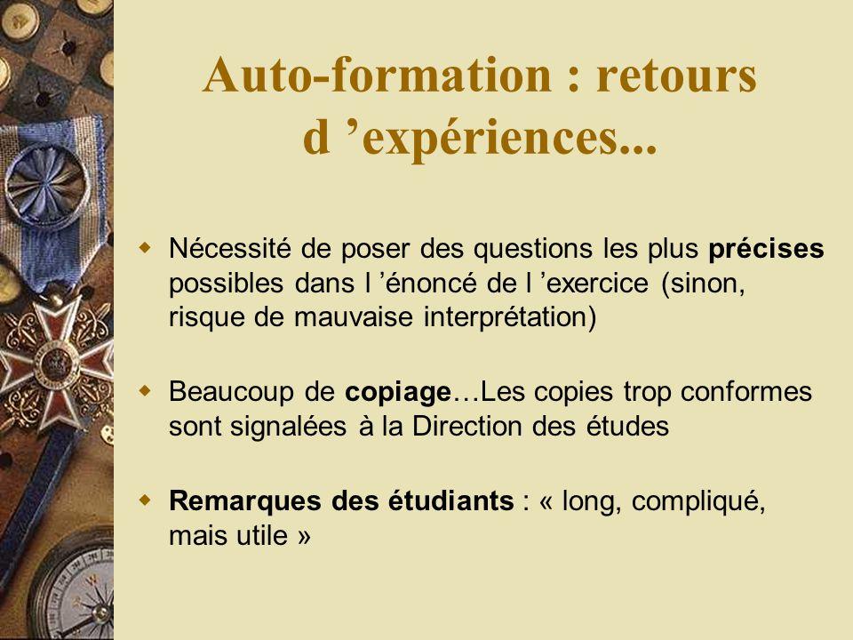 Auto-formation : retours d expériences...