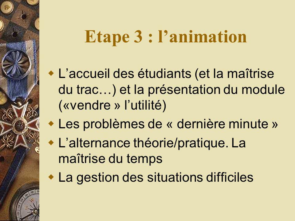 Etape 3 : lanimation Laccueil des étudiants (et la maîtrise du trac…) et la présentation du module («vendre » lutilité) Les problèmes de « dernière minute » Lalternance théorie/pratique.