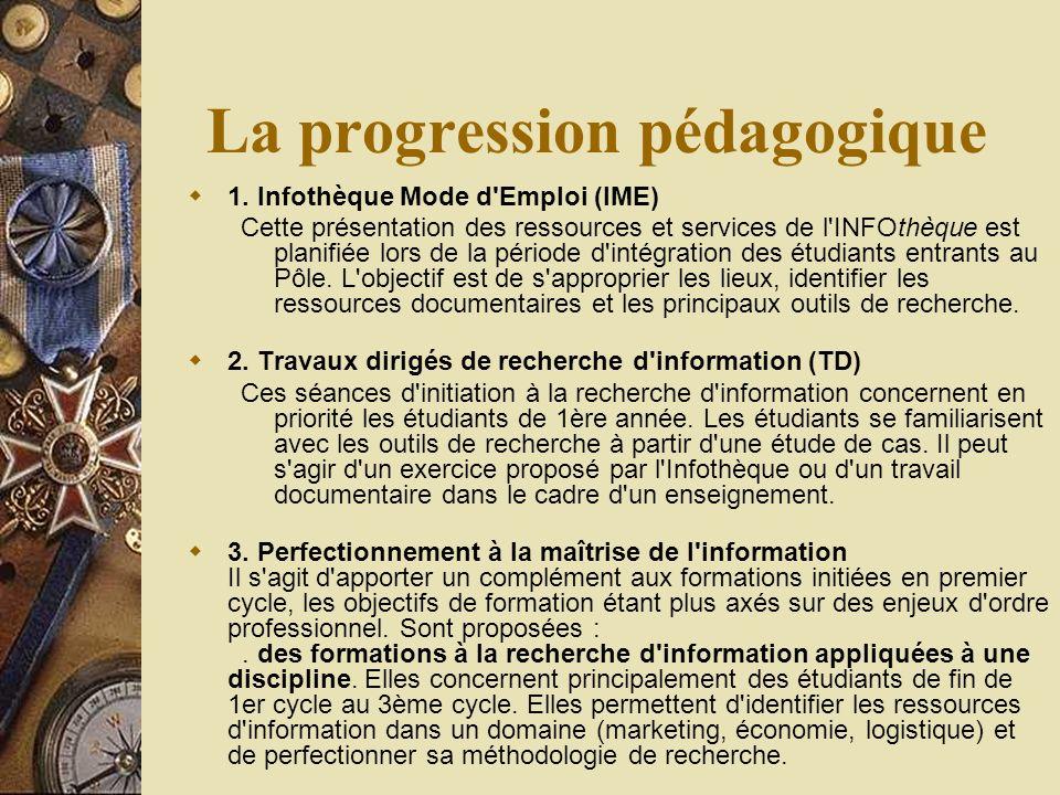 La progression pédagogique 1.