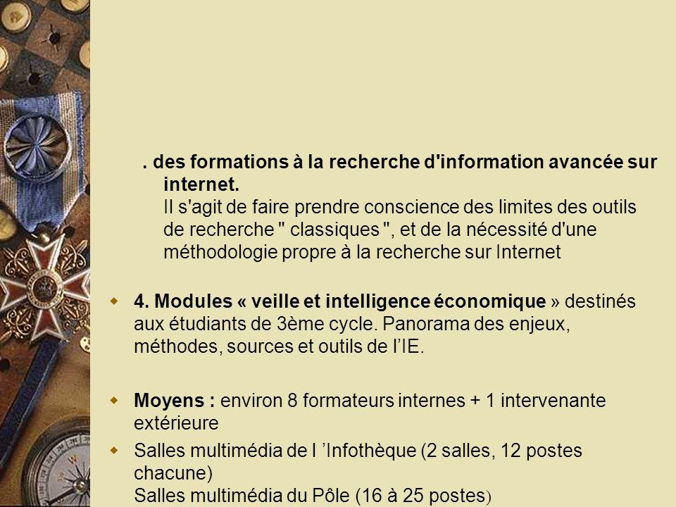 des formations à la recherche d information avancée sur internet.