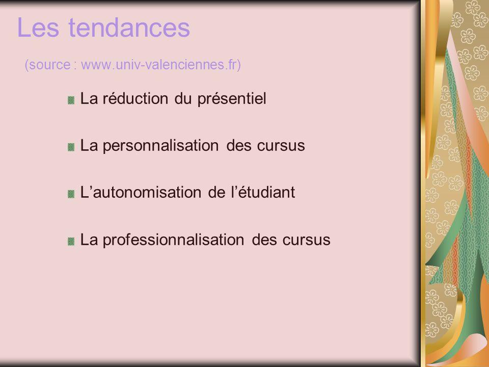 Les tendances (source : www.univ-valenciennes.fr) La réduction du présentiel La personnalisation des cursus Lautonomisation de létudiant La professionnalisation des cursus