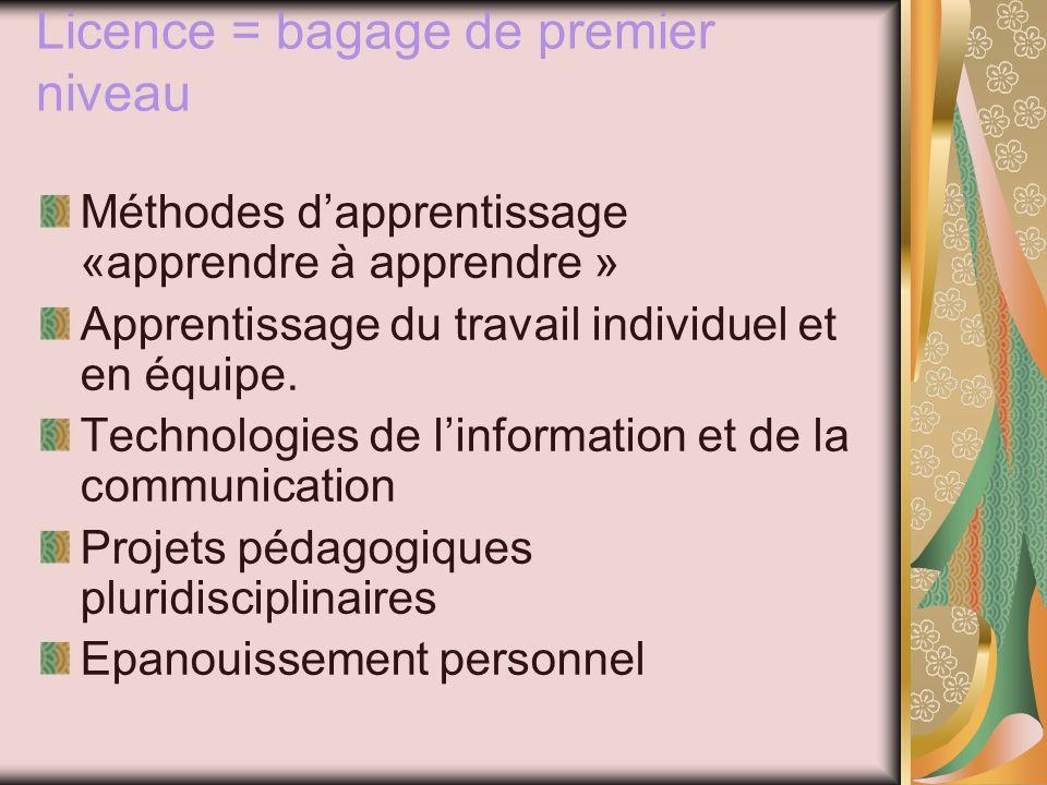 Licence = bagage de premier niveau Méthodes dapprentissage «apprendre à apprendre » Apprentissage du travail individuel et en équipe.