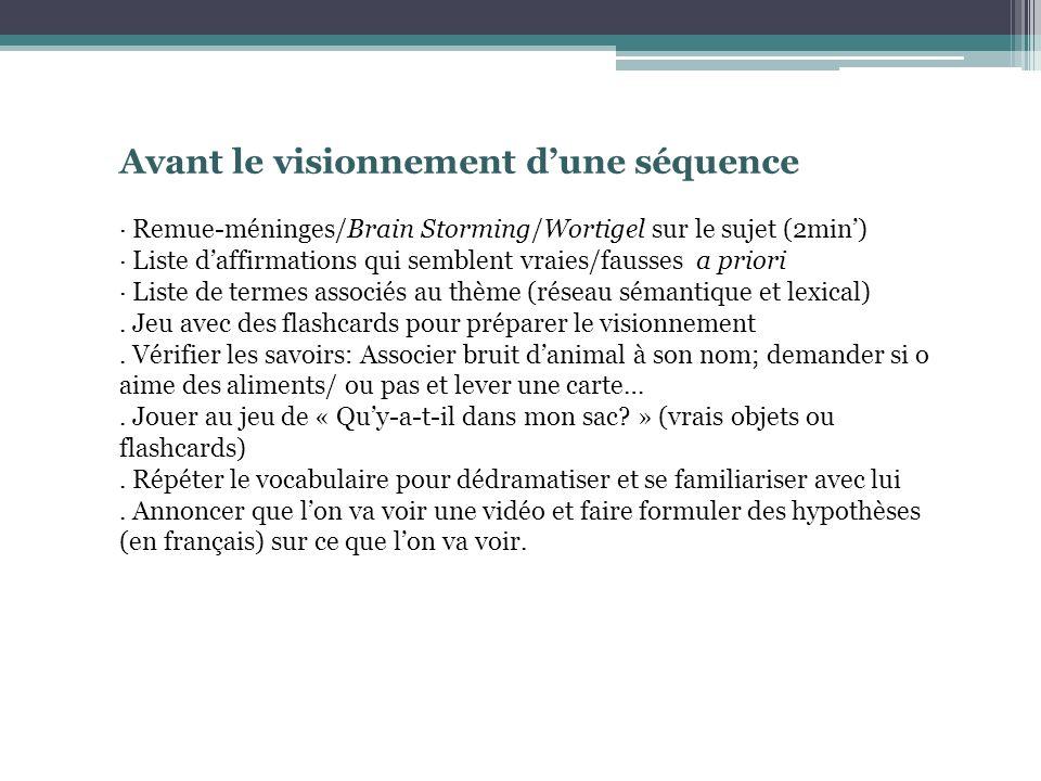 Avant le visionnement dune séquence · Remue-méninges/Brain Storming/Wortigel sur le sujet (2min) · Liste daffirmations qui semblent vraies/fausses a priori · Liste de termes associés au thème (réseau sémantique et lexical).