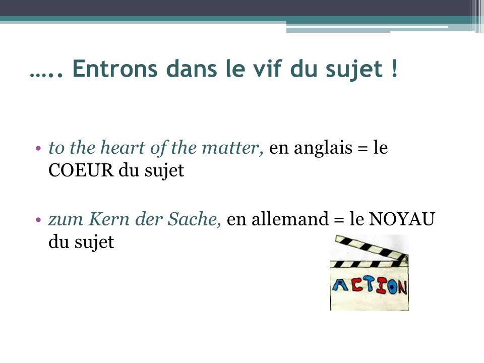 ….. Entrons dans le vif du sujet ! to the heart of the matter, en anglais = le COEUR du sujet zum Kern der Sache, en allemand = le NOYAU du sujet