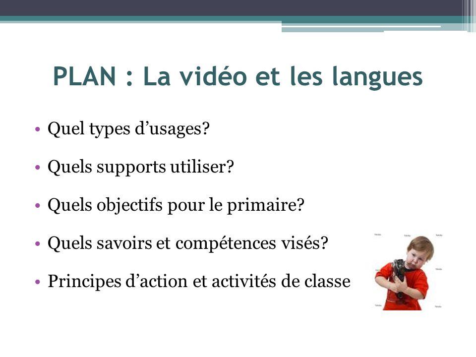 PLAN : La vidéo et les langues Quel types dusages? Quels supports utiliser? Quels objectifs pour le primaire? Quels savoirs et compétences visés? Prin
