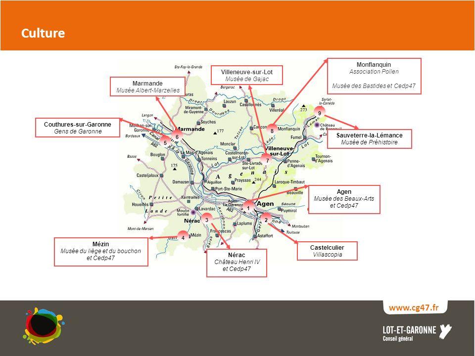 www.cg47.fr Culture Agen Musée des Beaux-Arts et Cedp47 2 1 Sauveterre-la-Lémance Musée de Préhistoire 3 4 Castelculier Villascopia Mézin Musée du liège et du bouchon et Cedp47 9 Nérac Château Henri IV et Cedp47 Monflanquin Association Pollen Musée des Bastides et Cedp47 Marmande Musée Albert-Marzelles 6 8 7 Villeneuve-sur-Lot Musée de Gajac Couthures-sur-Garonne Gens de Garonne 5