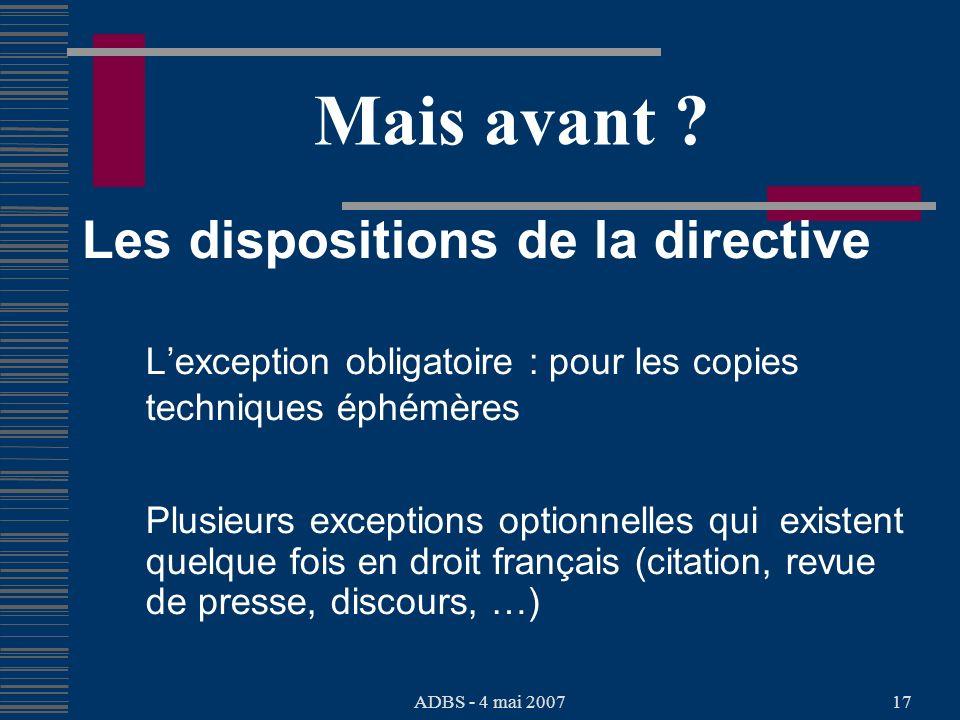 ADBS - 4 mai 200717 Mais avant .
