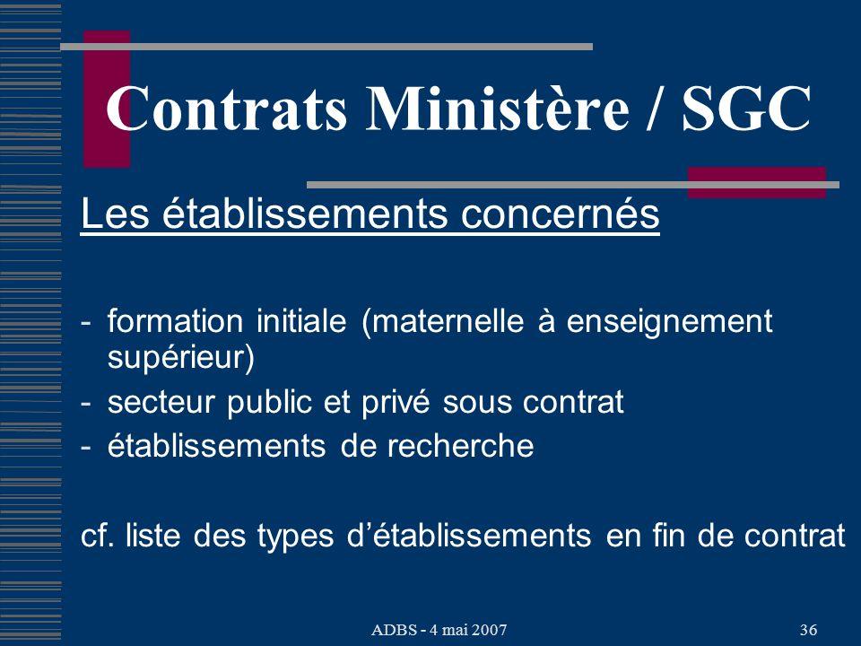 ADBS - 4 mai 200736 Contrats Ministère / SGC Les établissements concernés - formation initiale (maternelle à enseignement supérieur) - secteur public et privé sous contrat - établissements de recherche cf.