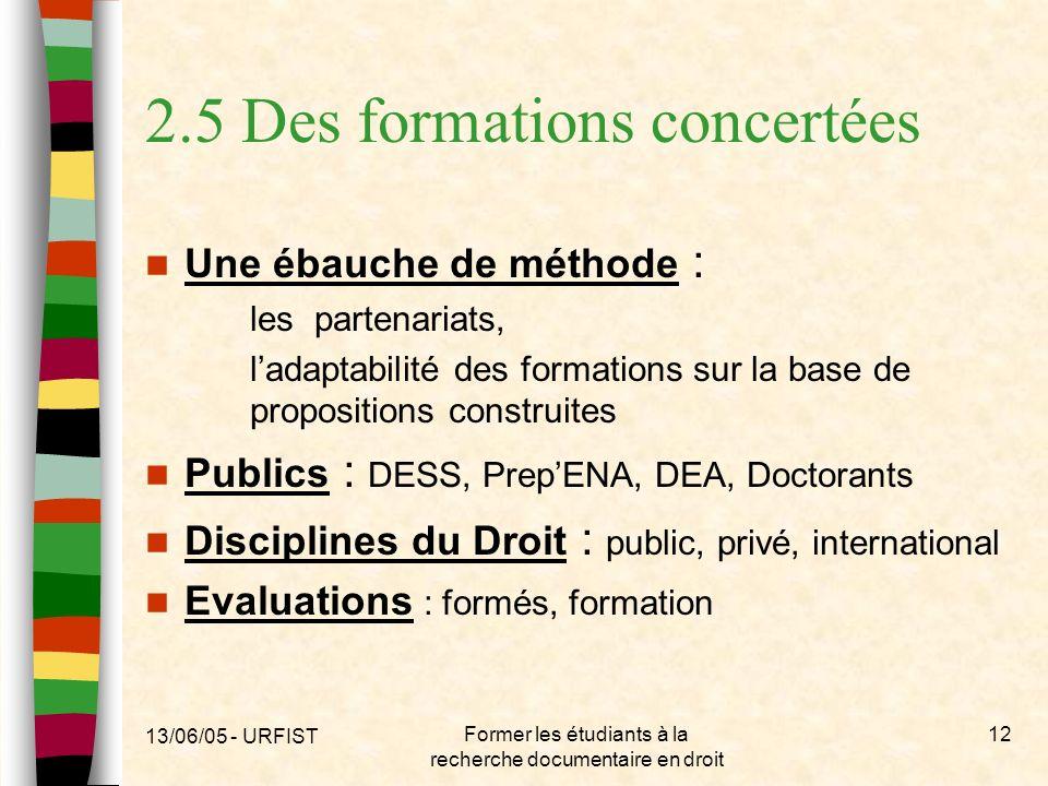 13/06/05 - URFIST Former les étudiants à la recherche documentaire en droit 12 2.5 Des formations concertées Une ébauche de méthode : les partenariats