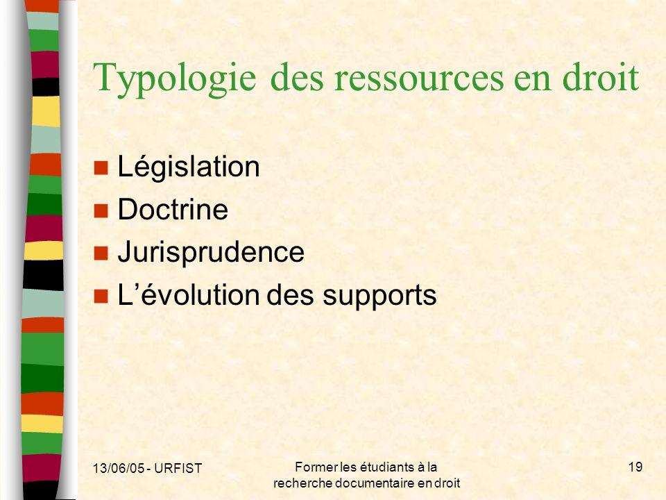 13/06/05 - URFIST Former les étudiants à la recherche documentaire en droit 19 Typologie des ressources en droit Législation Doctrine Jurisprudence Lé