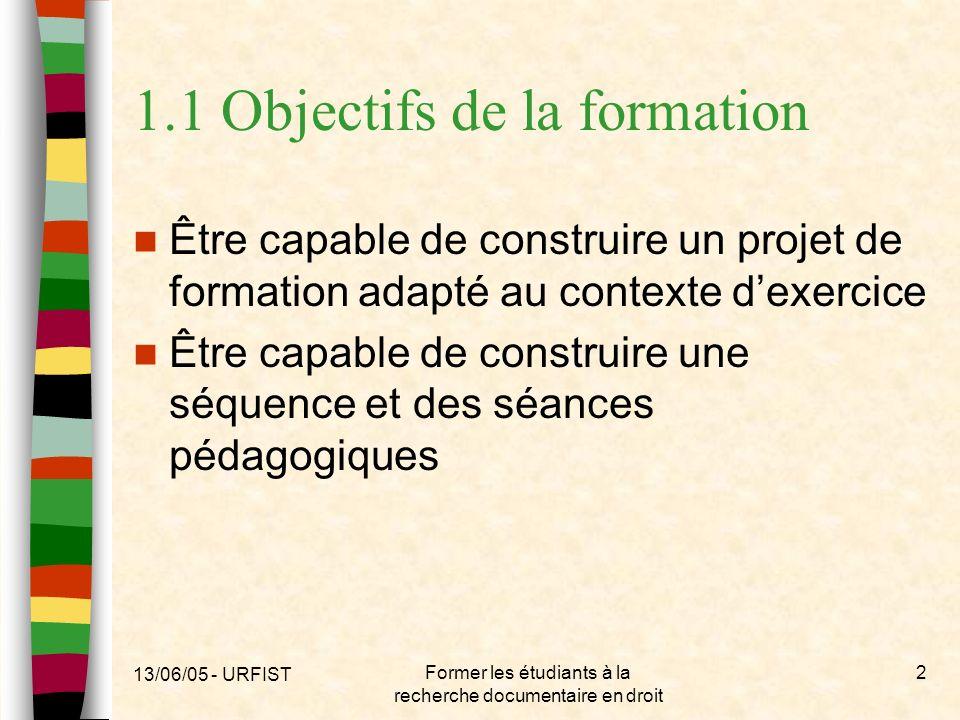 13/06/05 - URFIST Former les étudiants à la recherche documentaire en droit 2 1.1 Objectifs de la formation Être capable de construire un projet de fo