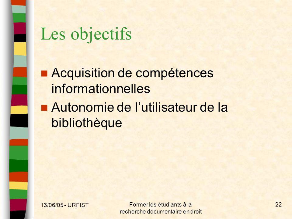 13/06/05 - URFIST Former les étudiants à la recherche documentaire en droit 22 Les objectifs Acquisition de compétences informationnelles Autonomie de