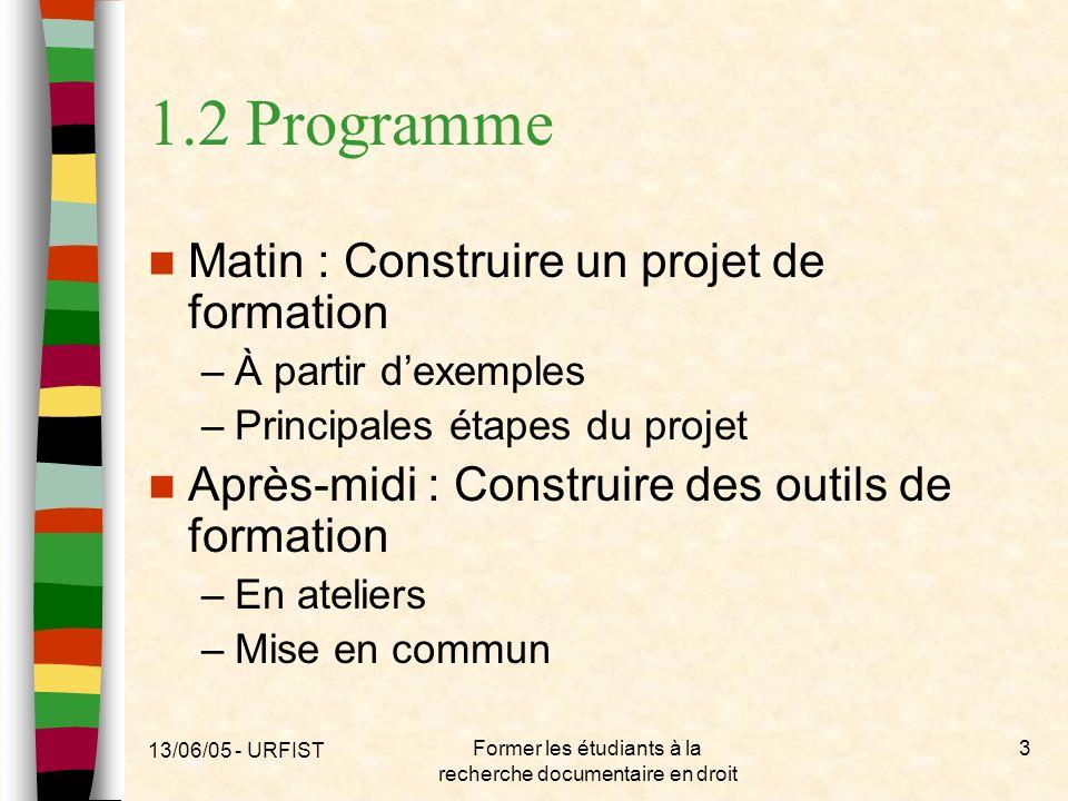 13/06/05 - URFIST Former les étudiants à la recherche documentaire en droit 3 1.2 Programme Matin : Construire un projet de formation –À partir dexemp