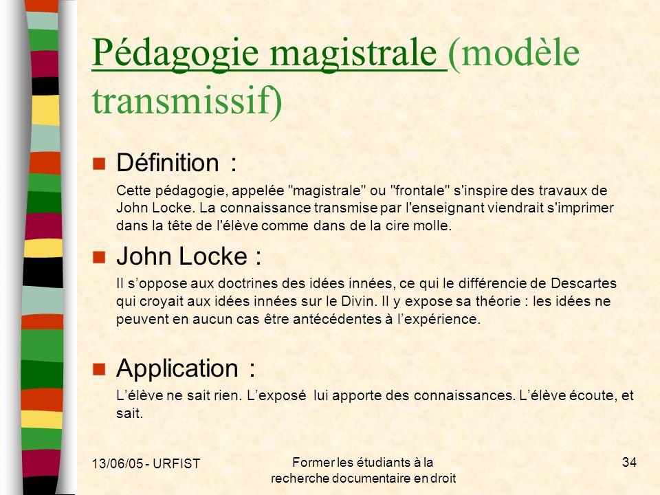 13/06/05 - URFIST Former les étudiants à la recherche documentaire en droit 34 Pédagogie magistrale Pédagogie magistrale (modèle transmissif) Définiti