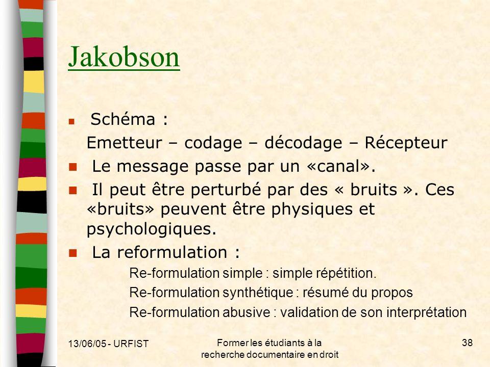 13/06/05 - URFIST Former les étudiants à la recherche documentaire en droit 38 Jakobson Schéma : Emetteur – codage – décodage – Récepteur Le message p