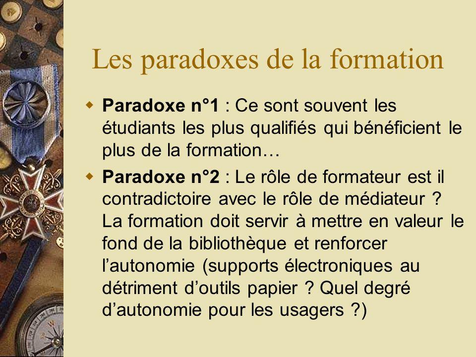 Les paradoxes de la formation Paradoxe n°1 : Ce sont souvent les étudiants les plus qualifiés qui bénéficient le plus de la formation… Paradoxe n°2 :