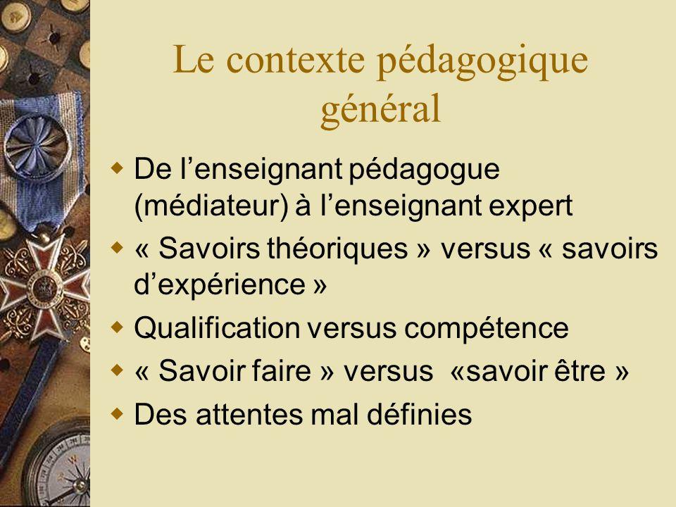 Le contexte pédagogique général De lenseignant pédagogue (médiateur) à lenseignant expert « Savoirs théoriques » versus « savoirs dexpérience » Qualif