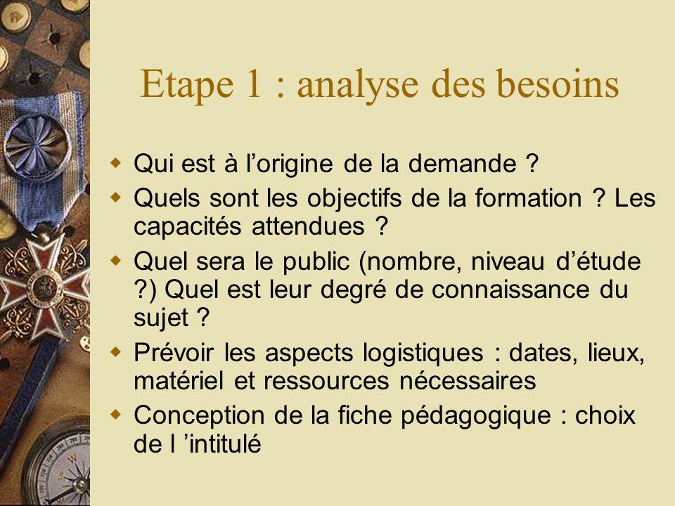 Etape 1 : analyse des besoins Qui est à lorigine de la demande ? Quels sont les objectifs de la formation ? Les capacités attendues ? Quel sera le pub