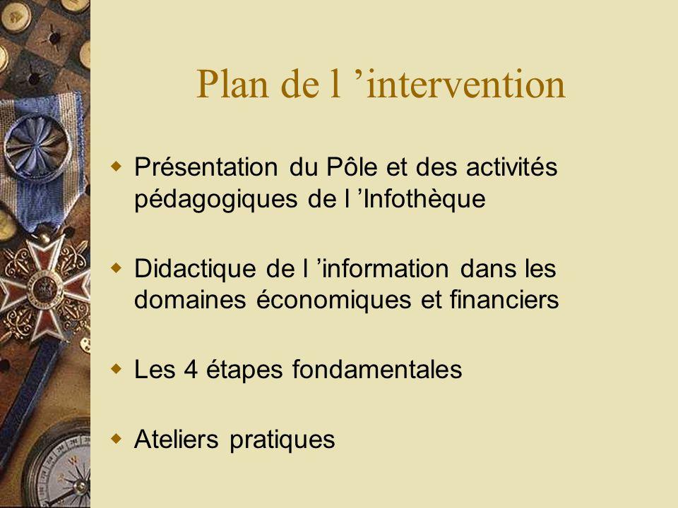 Plan de l intervention Présentation du Pôle et des activités pédagogiques de l Infothèque Didactique de l information dans les domaines économiques et