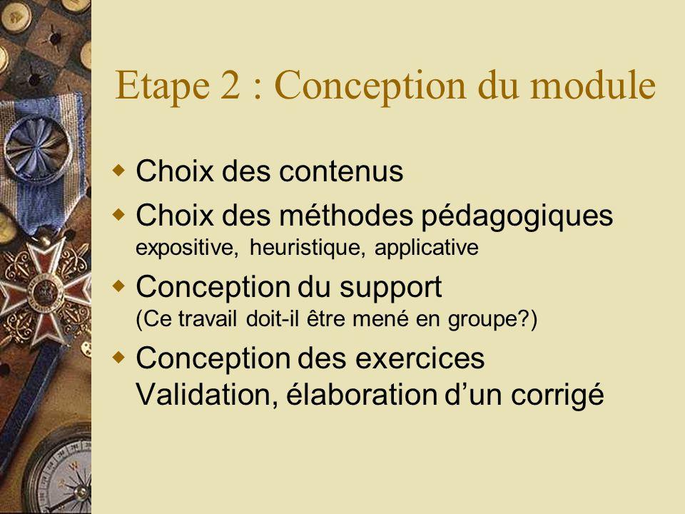 Etape 2 : Conception du module Choix des contenus Choix des méthodes pédagogiques expositive, heuristique, applicative Conception du support (Ce trava