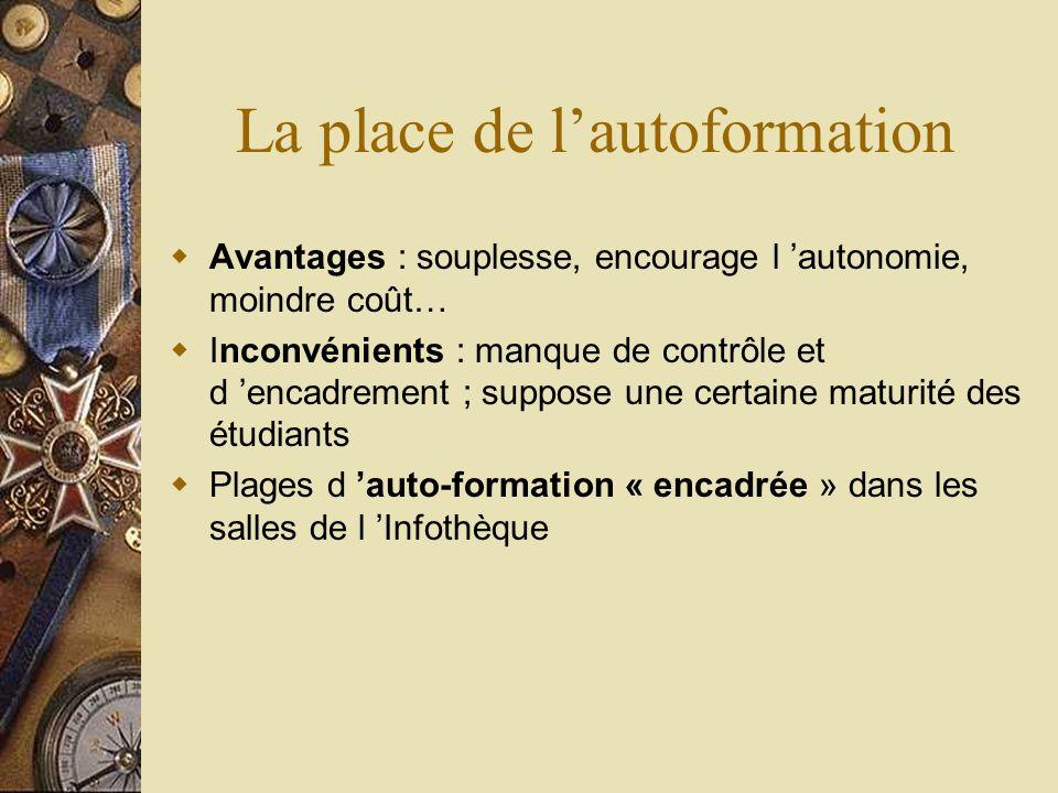 La place de lautoformation Avantages : souplesse, encourage l autonomie, moindre coût… Inconvénients : manque de contrôle et d encadrement ; suppose u